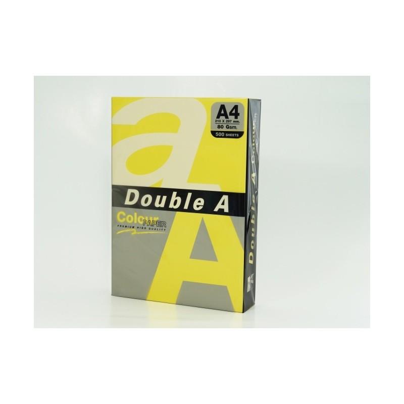 Värvilised paberid Double A, 80g, A4, 500 lehte, Lemon